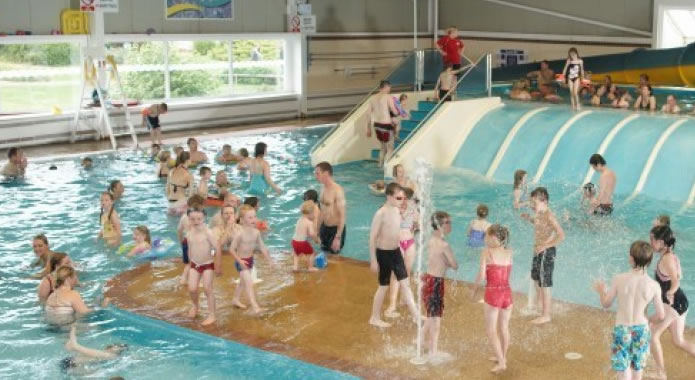Cayton Bay Indoor Pool, with Flumes, Slides and Fountains.